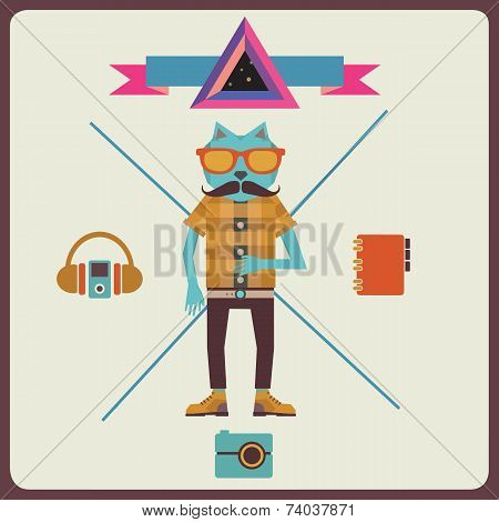 Minimalism concept of hipster - vector illustration poster