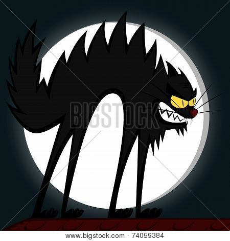 an angry black tomcat's fury in front of a full moon poster