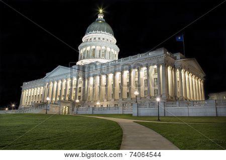 State Capitol Building in Salt Lake City Utah at night. poster