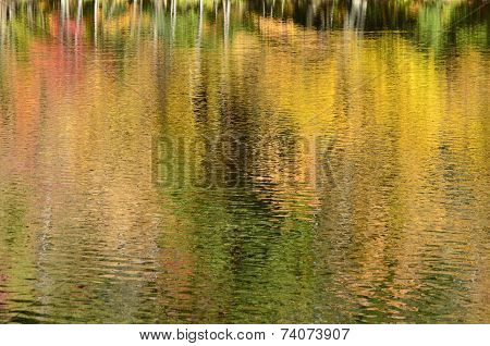 Autumn colors reflected onto New England pond