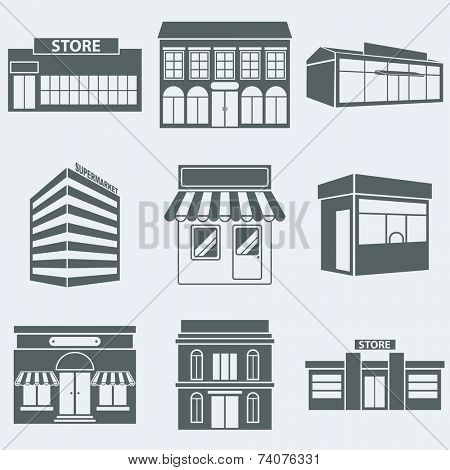 Vector illustration silhouettes of buildings shops