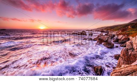 Beautiful sunset over California coast