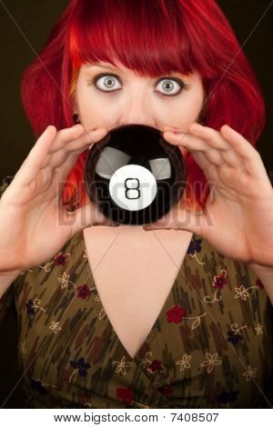 Punky Girl With Red Hair With Prediction Ball