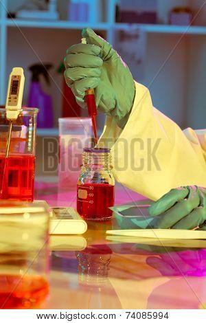 Researchers Work In Modern Scientific Lab. Preparation Of Hazardous Solution