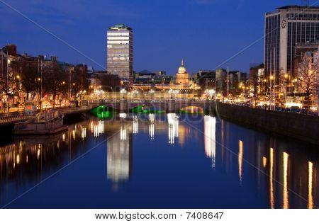 Dublin city at sunset