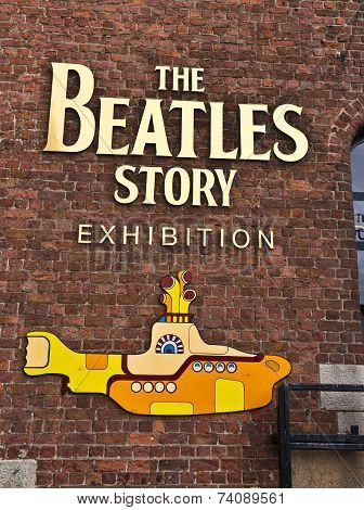 Beatles museum in Liverpool sign.