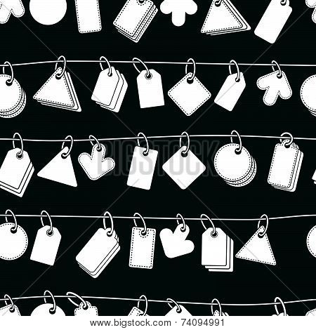 Sale tags on a rope seamless background, monochrome, icon set, elements easy to use separately