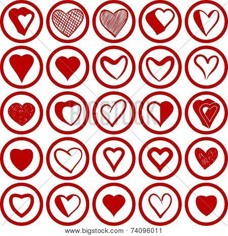 25 heart icons vectors set. Love theme,