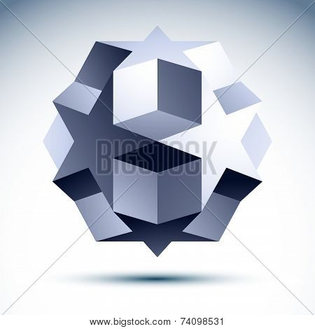Abstract 3D polygonal object with stars and cubes, geometric design element