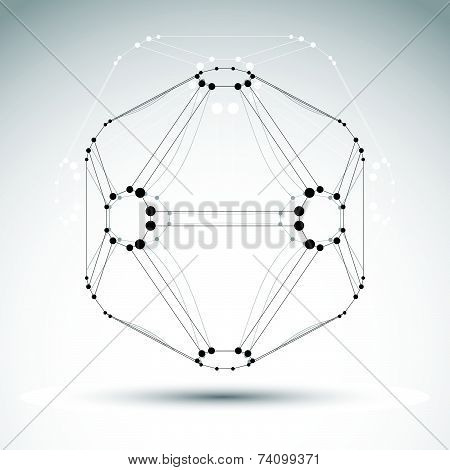 abstract 3D mesh object, design element template for technology theme projects, clear eps 8.