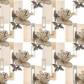 Patchwork seamless floral roses pattern texture background with decorative elements poster