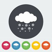 Snowfall. Single flat icon on the circle. Vector illustration. poster