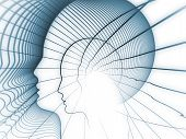 Geometry of Soul series. Abstract composition of profile lines of human head suitable as element in projects related to education science technology and graphic design poster