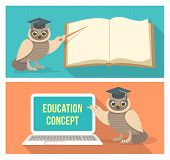 Modern flat conceptual horizontal vector illustrations of education with a wise owl which points to a book and a computer poster
