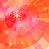 Abstract red-orange circle tunnel mosaic vector background poster