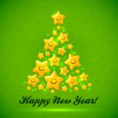 Vector Christmas tree made from yellow cute shining smiling stars poster