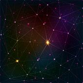 Abstract vector triangle grid on cosmic background poster