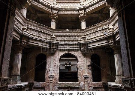 Ahmedabad India - December 25 2014: Adalaj Stepwell In Ahmedabad, Gujarat