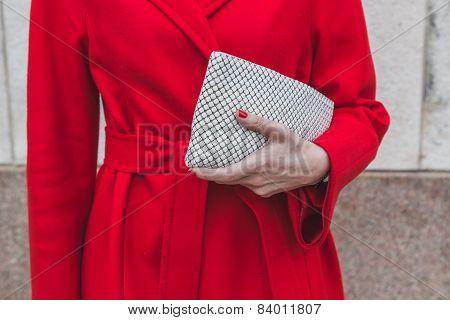 Detail Of A Woman Posing Outside Gabriele Colangelo Fashion Show Building For Milan Women's Fashion