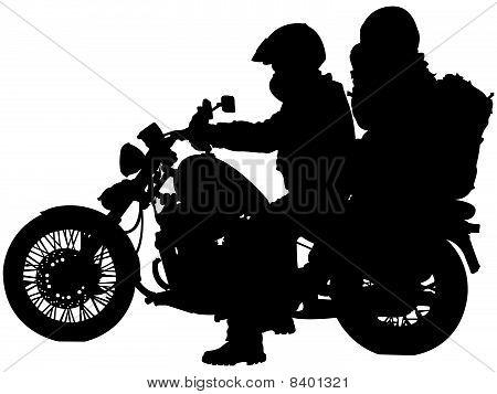 Motosiklet ve bisiklet Silhouettes