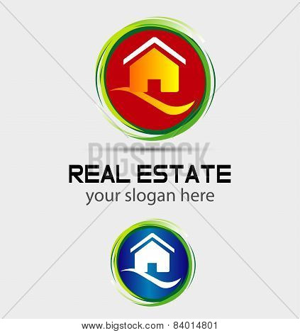 House home logo, round icon
