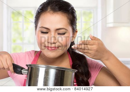 Young Chef Woman Cooking