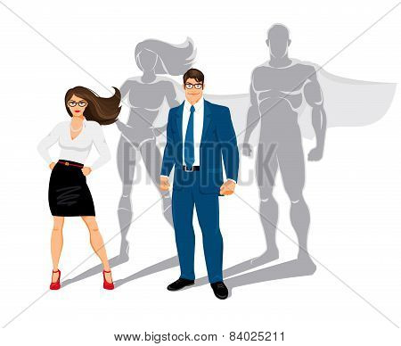 Businessman and business woman office superheroes