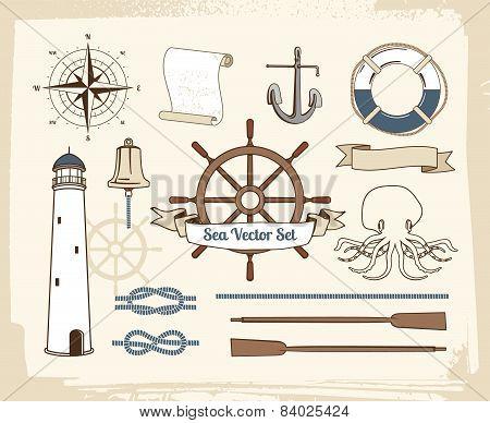 Vintage nautical decoration set