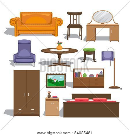 Furniture for bedroom. Lamp and table, chair and picture, chest of drawers and wardrobe, double bed and sofa, table and interior. Vector illustration poster
