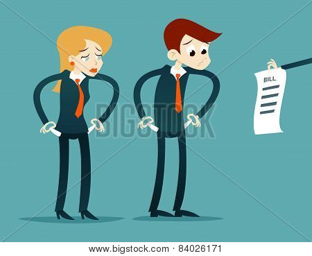 Out of money businessman cartoon character looking bill Icon on Stylish Background Retro Cartoon Des