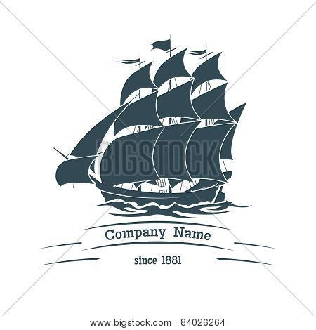 Big sail ship logo icon