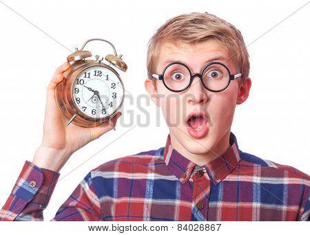 Nerd Guy With Alarm Clock.