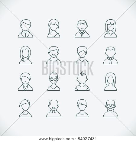 Thin line people icons