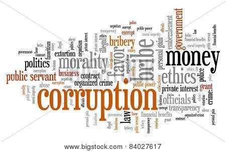 Corruption crime issues and concepts tag cloud illustration. Word cloud collage concept. poster