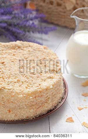 Mille-feuille Cake In Provence Style Background With Milk And Lavender