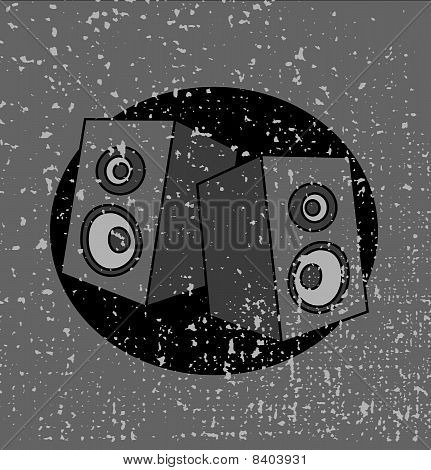 Speakers On Grunge Background.eps