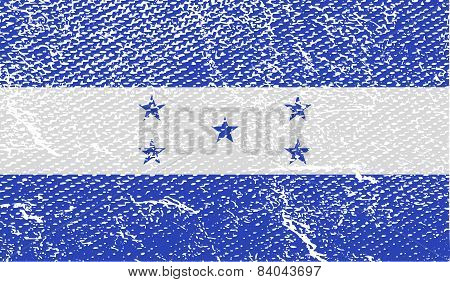 Flag Of Honduras With Old Texture. Vector