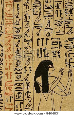 Detail of hieroglyphic text on papyrus