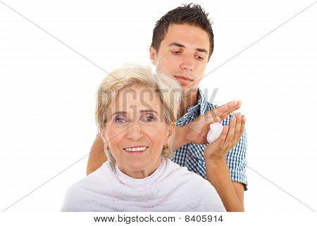 Senior Woman In A Hair Salon