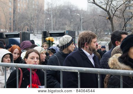 Ecologist Alla Chernyshova And Governor Nikita Belykh In The Queue At The Funeral Of Boris Nemtsov