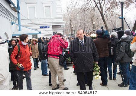 Politician Gennady Gudkov At The Funeral Of Boris Nemtsov