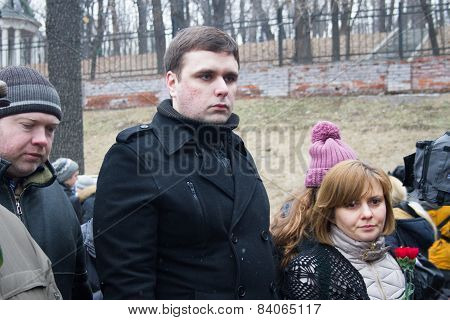 Opposition Politician Konstantin Jankauskas With His Wife At The Funeral Of Boris Nemtsov