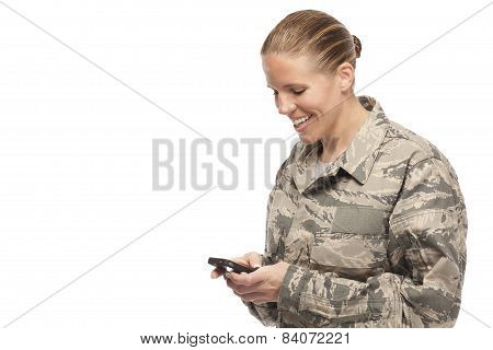 Happy Female Airman Text Messaging