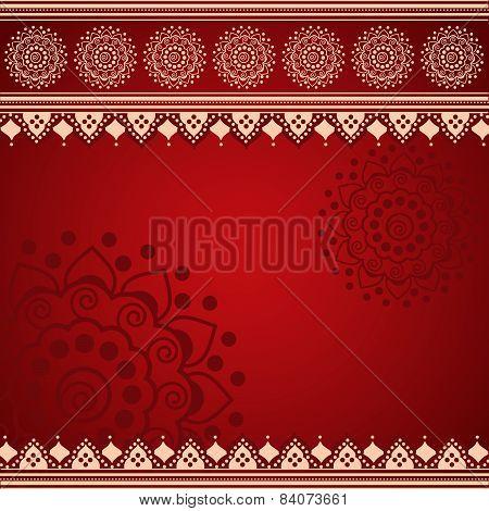 Red Indian henna mandala background