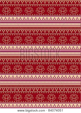 Traditional Red And Cream Lotus Henna Pattern
