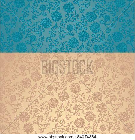 Blue Chinese Lotus Pattern Horizontal Banner