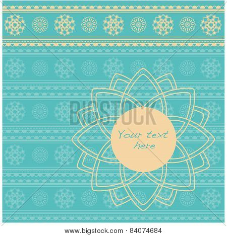 Blue Indian henna background with banner