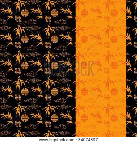 Black and gold Chinese bamboo pattern banner