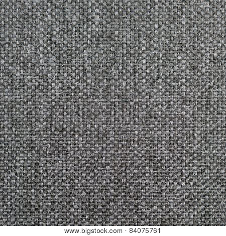 Natural textured grunge dark grey and black burlap sackcloth hessian, gray upholstery sack texture decor, grungy decorative vintage sacking canvas, large detailed bright pattern, macro background closeup poster