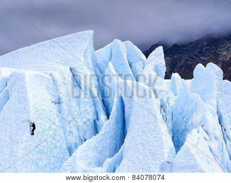Ice Climber on Glacier